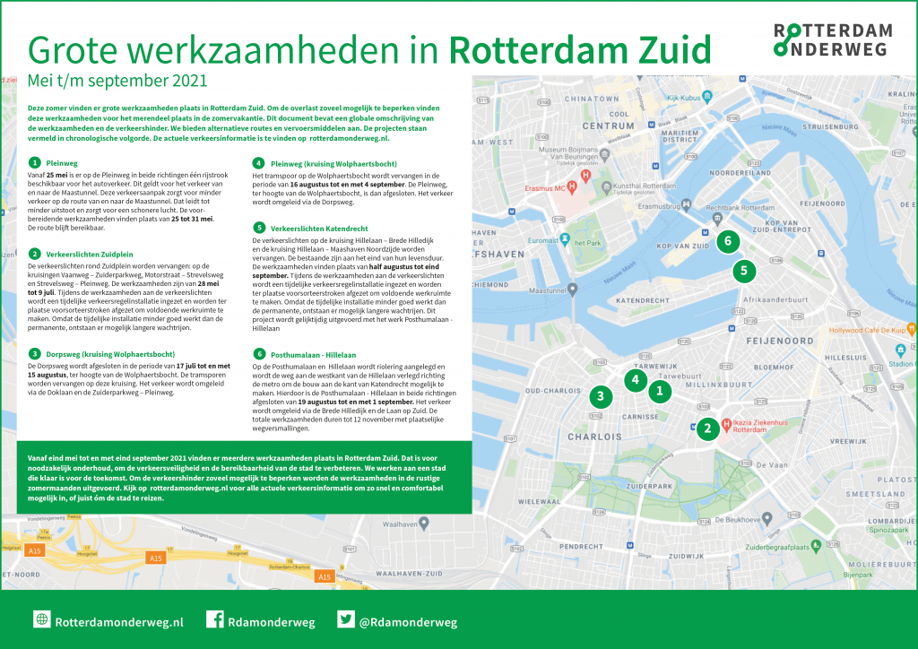 Grote werkzaamheden in Rotterdam Zuid van mei t/m september 2021